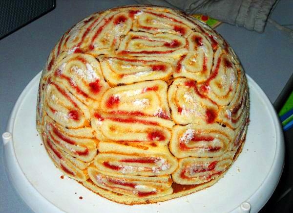Торт фруктовый без выпечки с печеньем и