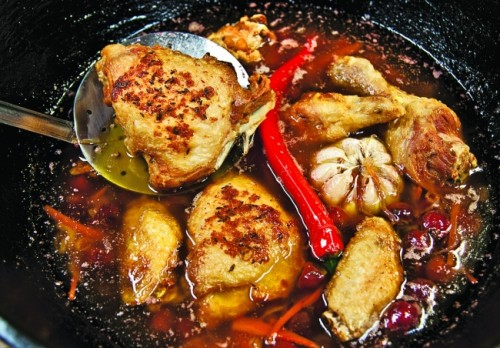 Плов с вишней и цыпленком
