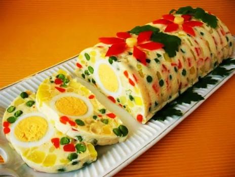 Желейный САЛАТ с яйцами и овощами