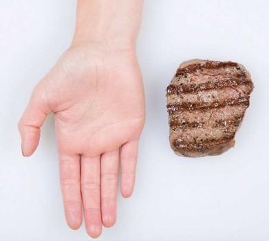 Размер порции мяса - ладонь руки